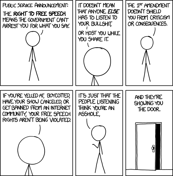 The right to free speech means the government can't arrest you for what you say. It doesn't mean that anyone else has to listen to your bullshit, or host you while you share it.